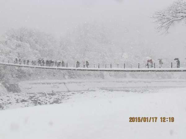 Deai Bridge over Sho river in winter