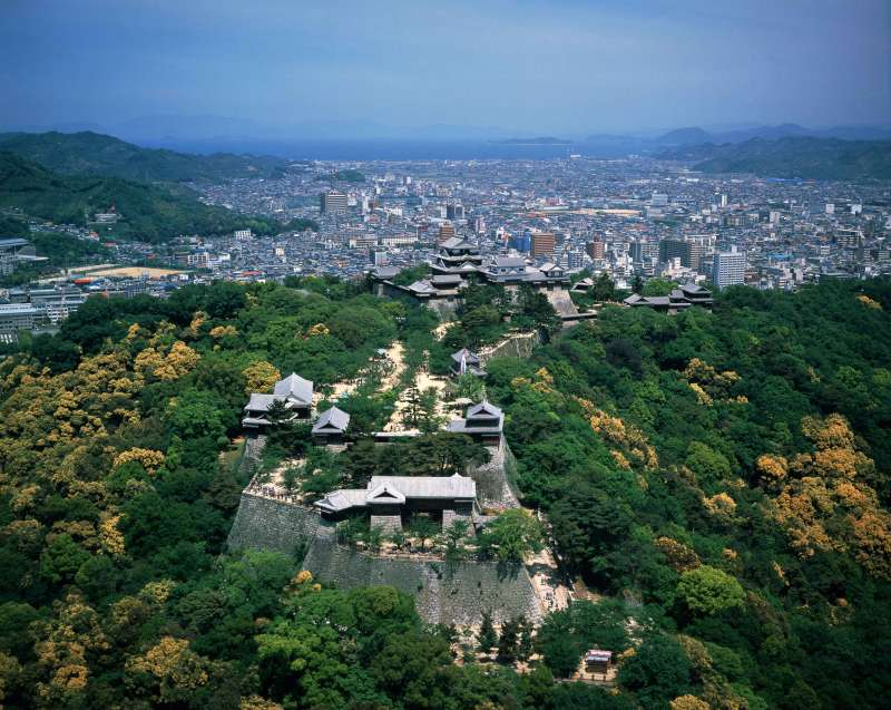 Matsuyama Castle is easily accessible by ropeway and chairlift despite the steep hilltop location.