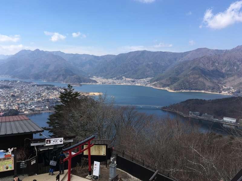 Lake Kawaguchi from the top station of Mt. Kachikachi ropeway