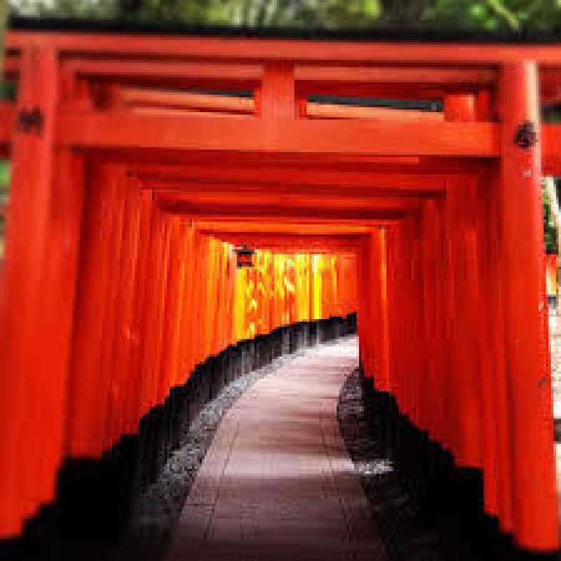 Red shrine gates of Fushimi Inari Shrine