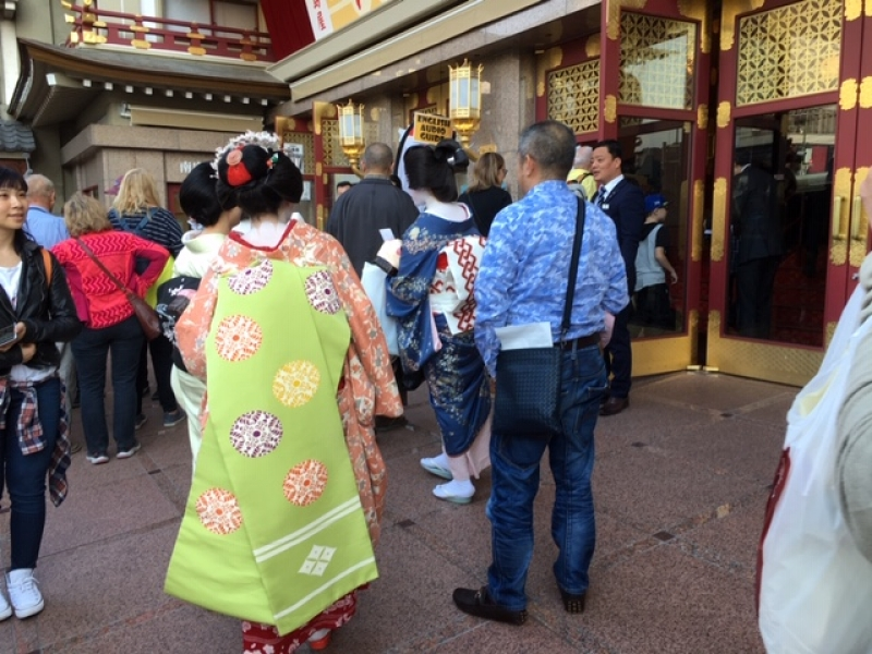 Hopefully we will see maiko (in the foreground) and geiko in front of Minamiza, the oldest theater in Japan.