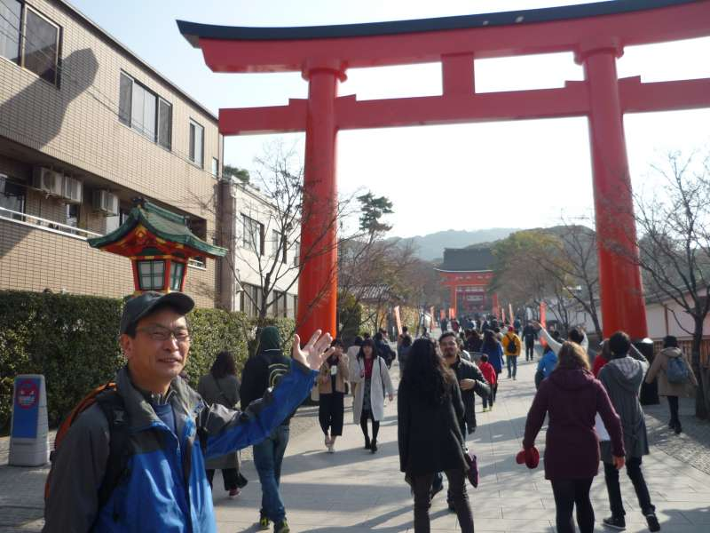 The entrance of Fushimi Inari Shrine, the first
