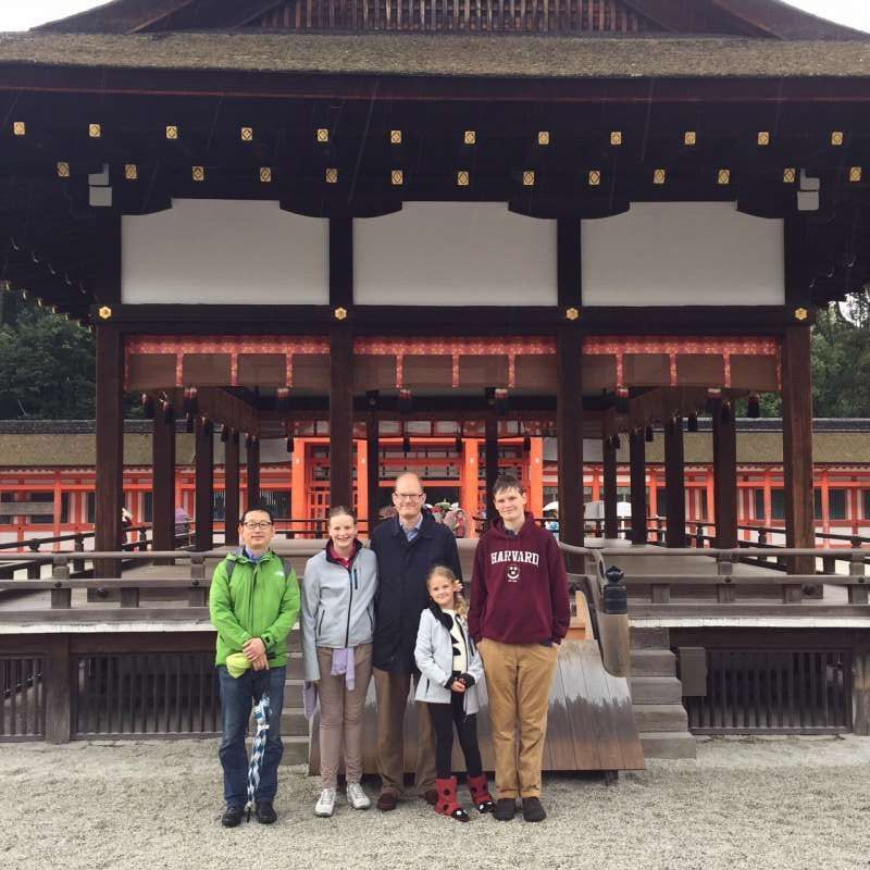 With a Danish family at Shimogamo-shrine.