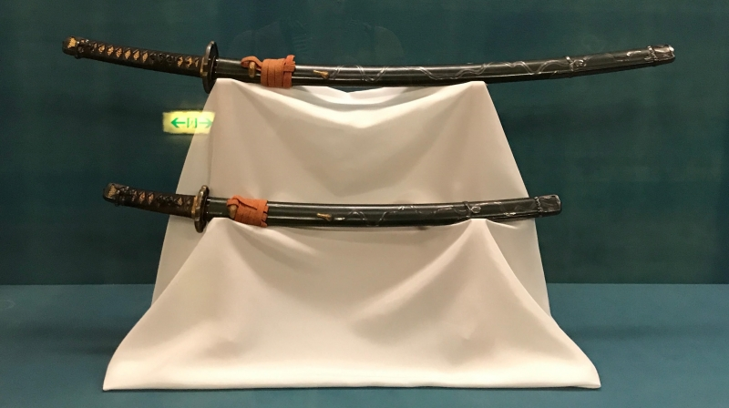 Samurai swords at the Tokyo National Museum. It features national treasures, including Buddhist statues, armor, and artwork. (#1)