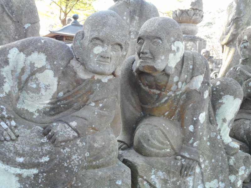 Stone statues of the disciples of Buddha in Kawagoe