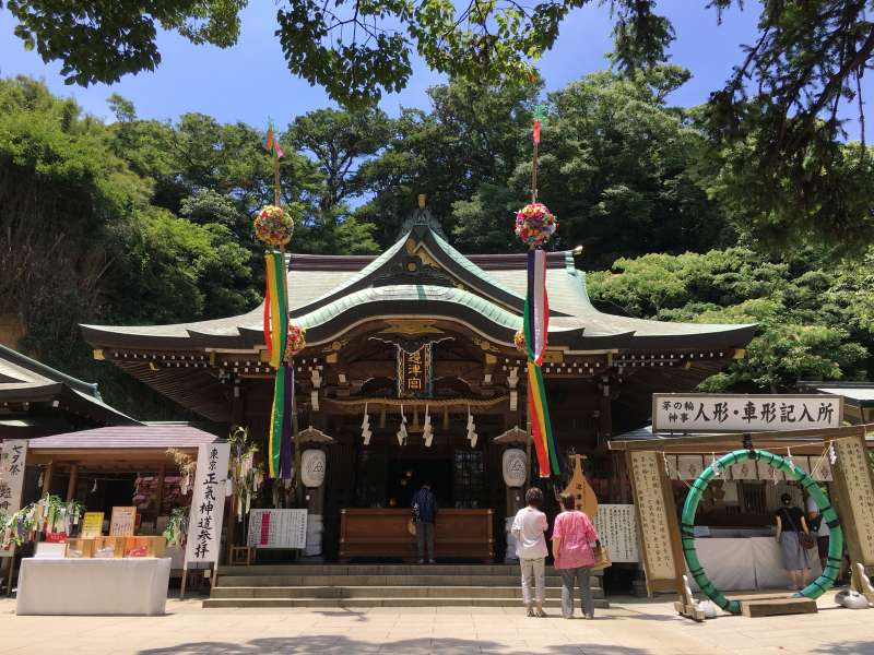 Enoshima shrine with the star festival decolation in July