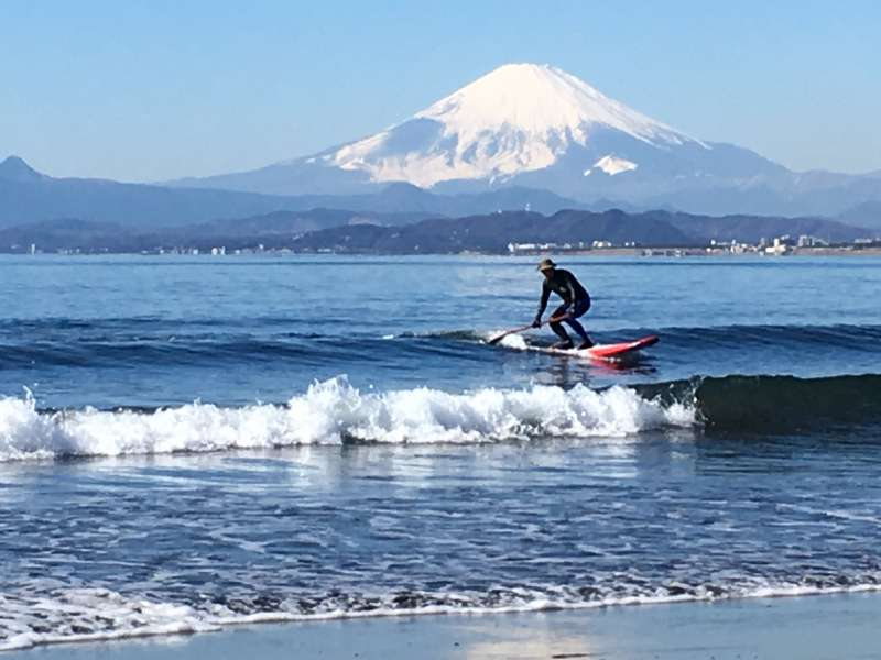 The view of Mt. Fuji from Katase Nishihama beach, Enoshima