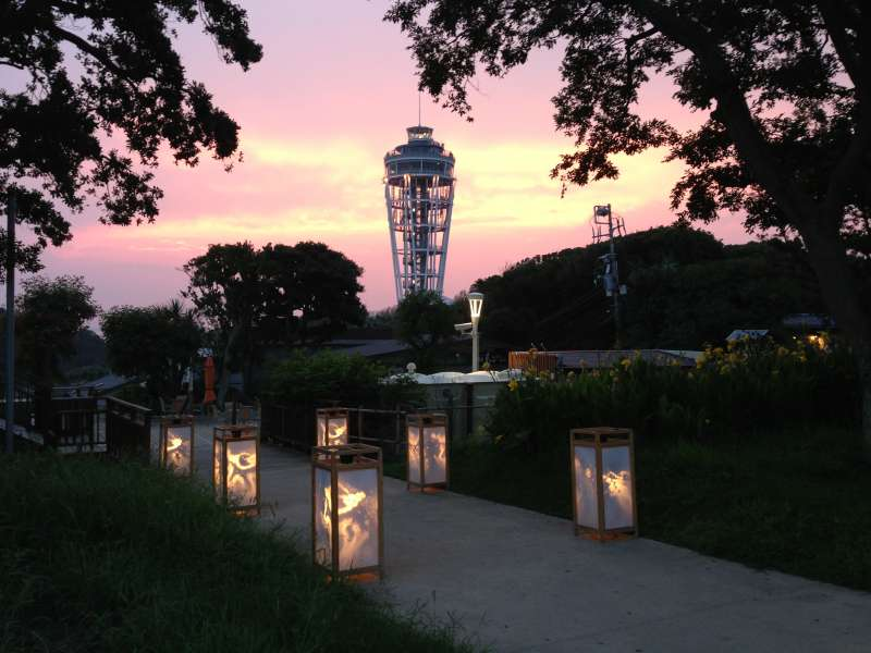 The sunset hour of Enoshima and the lighthouse in Enoshima