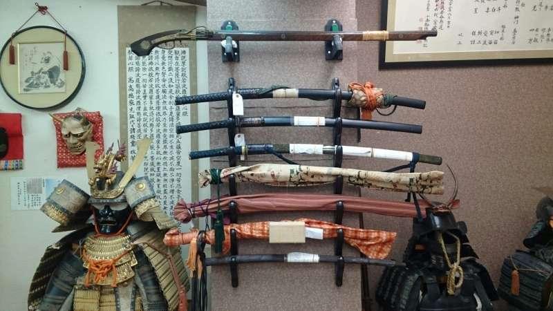 Antique samurai weapons displayed in dojo!!