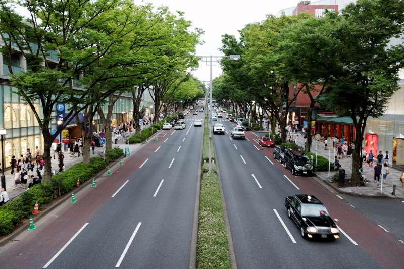 Omote-sando street. Both sides of the road, there are many  luxury brand shops.