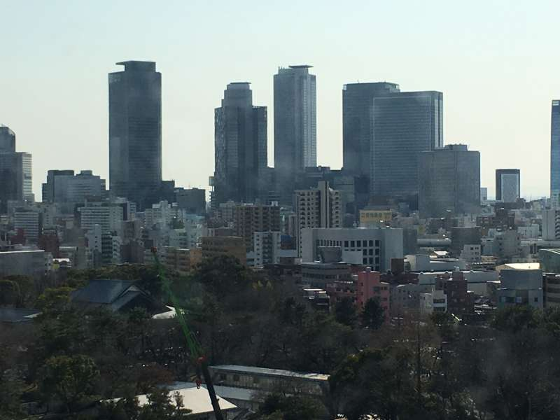 A view of skyscrapers in Nagoya from the top floor of Nagoya Castle Tower