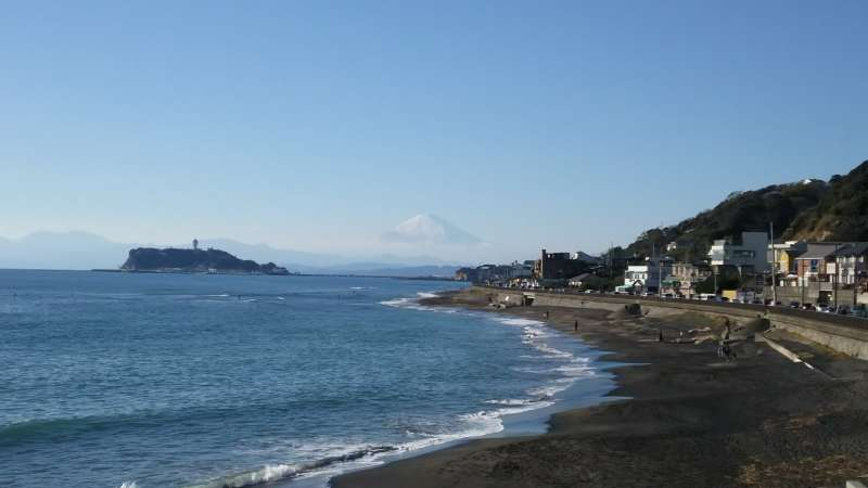 Bay view with Enoshima island and Mt. Fuji