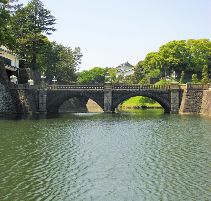 Imperial Palace: Nijubashi - Double Bridge.  Old Tokyo castle