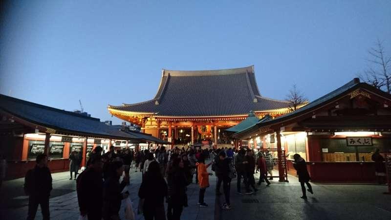 Asakusa Sensoji temple after sunset