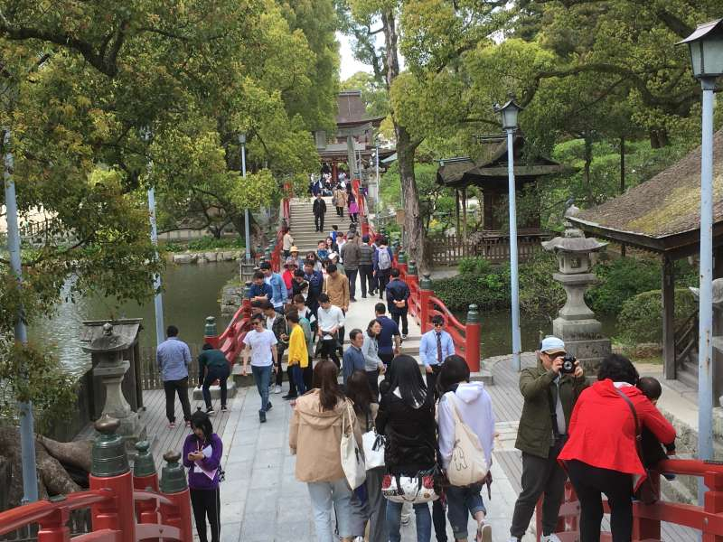 Dazaifu Tenmanngu Shrine  sacred to the memory of Michizane Sugawara, also known as