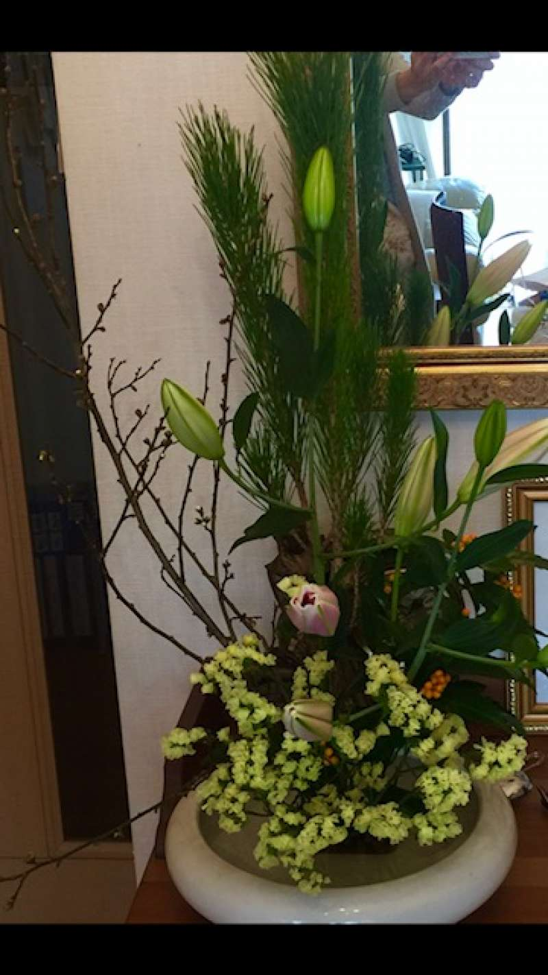 The flower arrangement in Japanese style