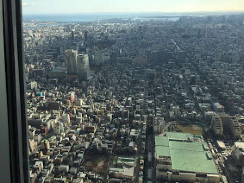 Viewing from the deck on 350 floor in Skytree