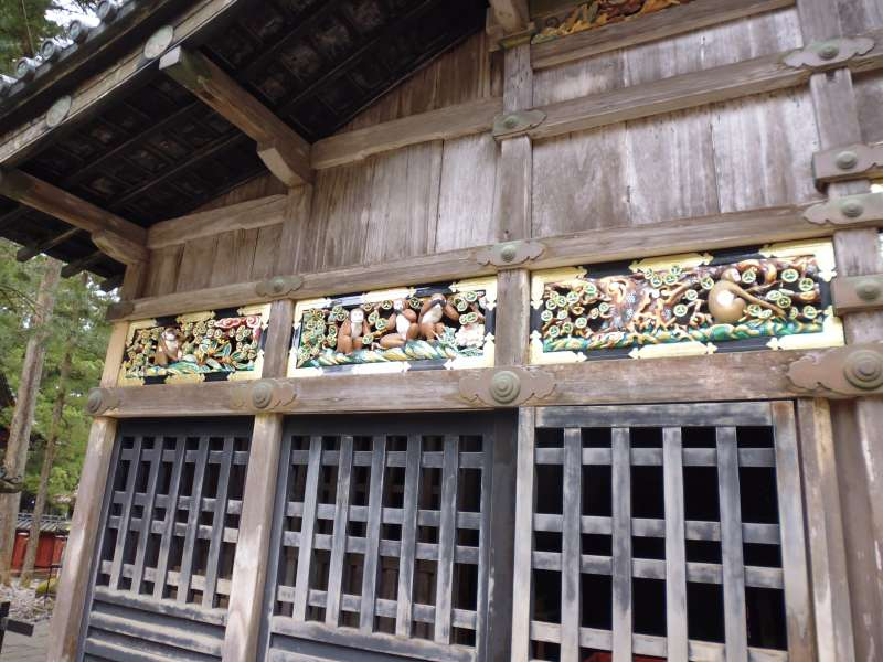 Sacred Stable House in Nikko Toshogu Shrine is famous for its carvings, Three Wise Monkeys, saying see no evil, hear no evil, speak no evil.