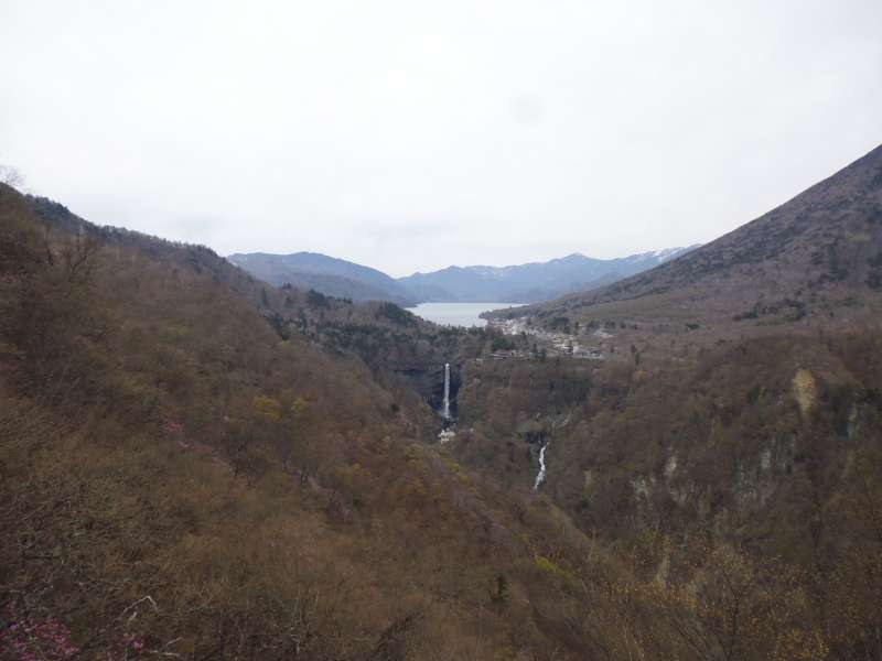 A panomic view from Akechidaira 1,373 m high above sea level. You see Lake Chuzenji, Mt. Nantai and Kegon Waterfall.