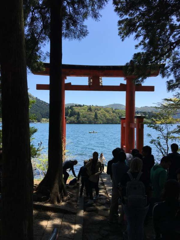 Floating torii gate of Hakone Shrine.