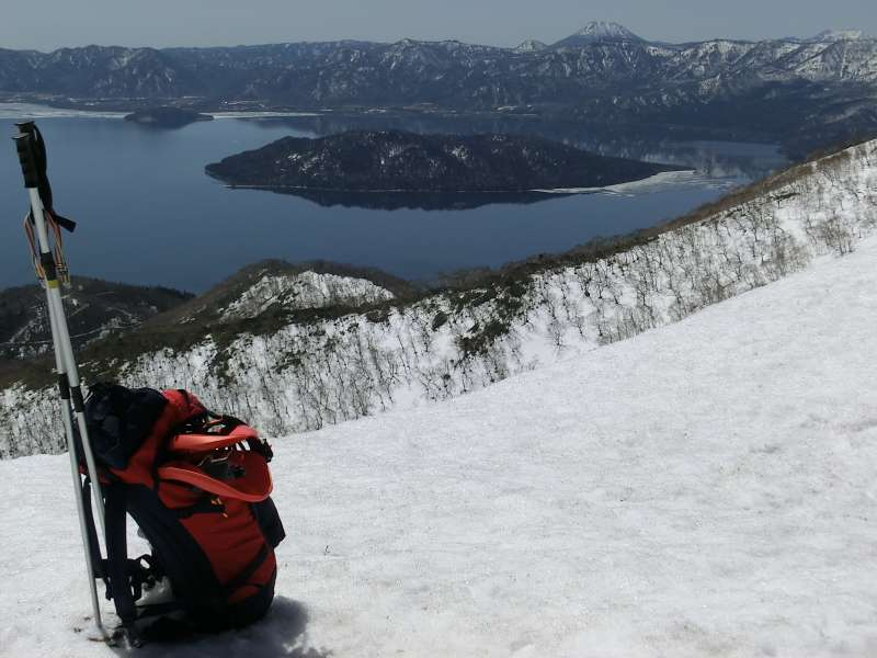 Snowshoe hike in early spring. You can enjoy walking with snowshoes in the warm spring.