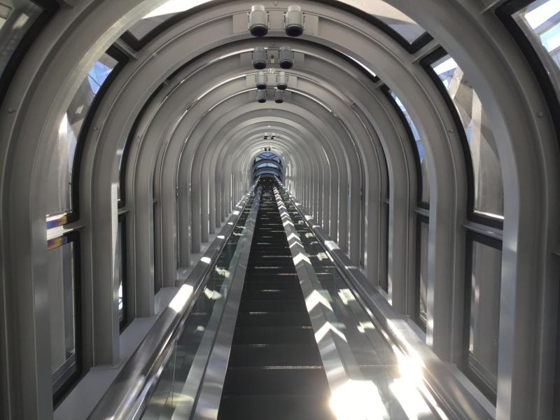 Special escalator inside Umeda sky bill
