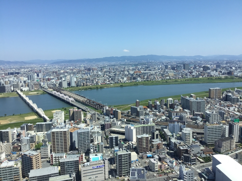 Overview of Osaka and surrounding area from Umeda sky bill