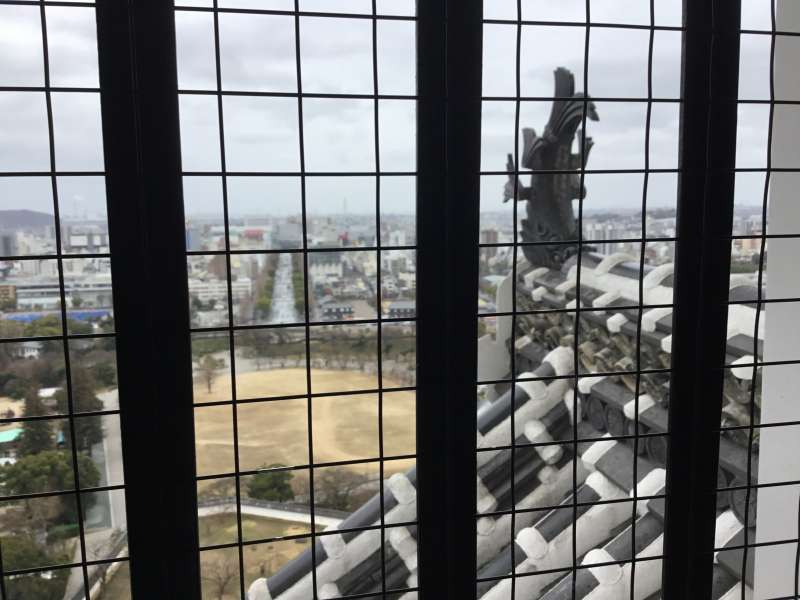 Landscape of Himeji city from each floor of the keep by walking up the floors.
