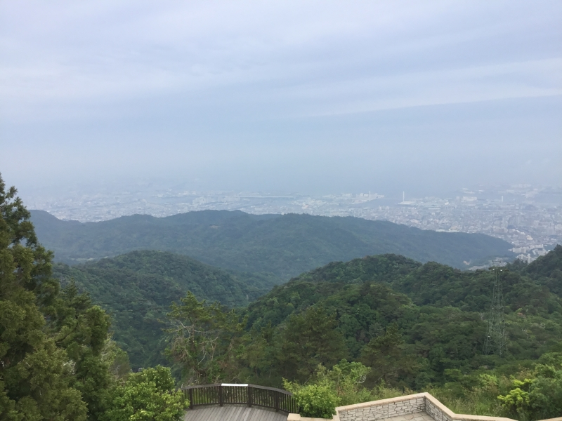 Overview of Kobe, Osaka and Wakayama in the distance from observation platform
