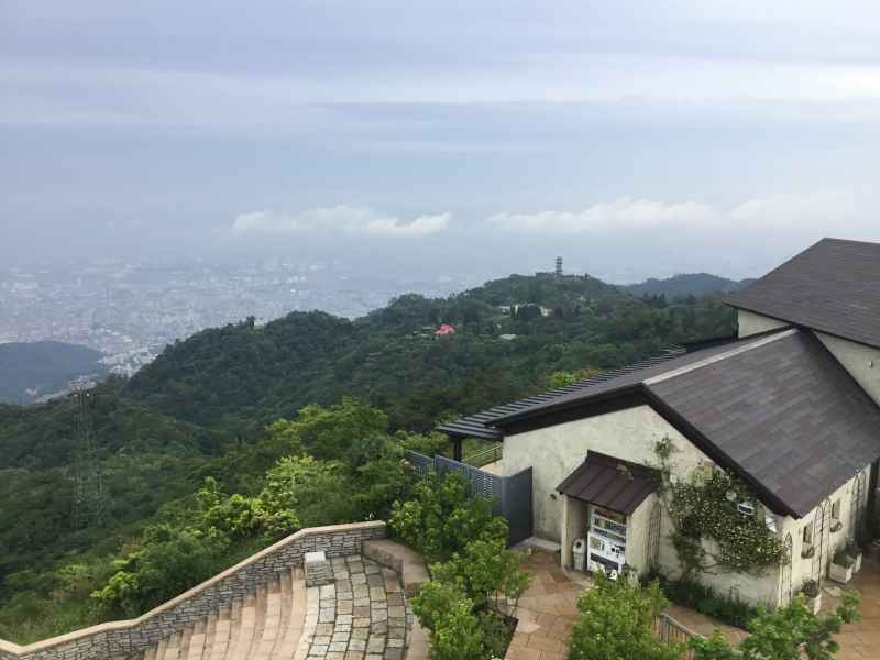 Observation Café on Rokko mountain and the overview of Kobe and Osaka in the distance.