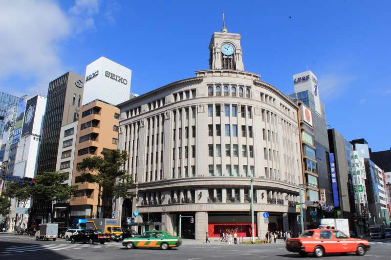 Ginza, a sophisticated shopping and business area.
