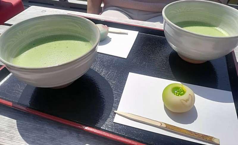 Sweets & Matcha tea at tea house in Hamarikyu garden