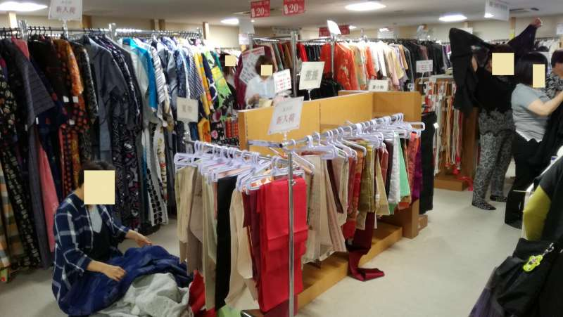 Inside of second hand kimono shop. They have 2 floors. This one is casual kimono floor.