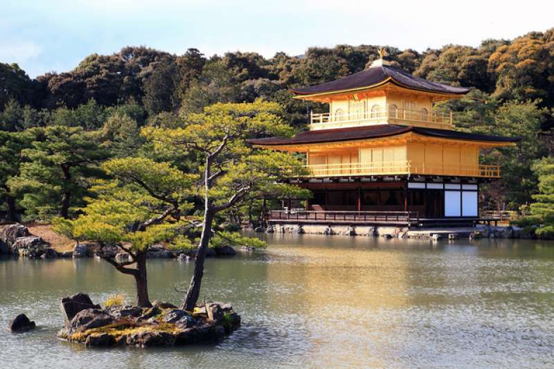 This is the Golden pavilion or Kinkaku-ji temple.