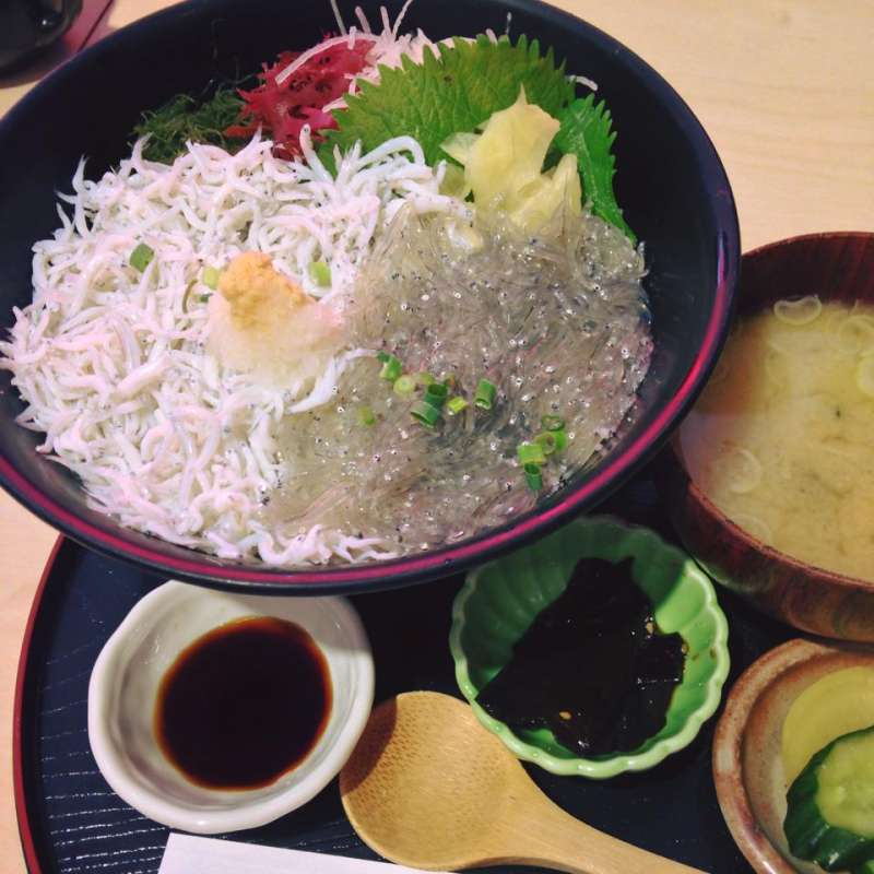 The island's specialty, Shirasu-don, or a rice bowl topped with whitebait