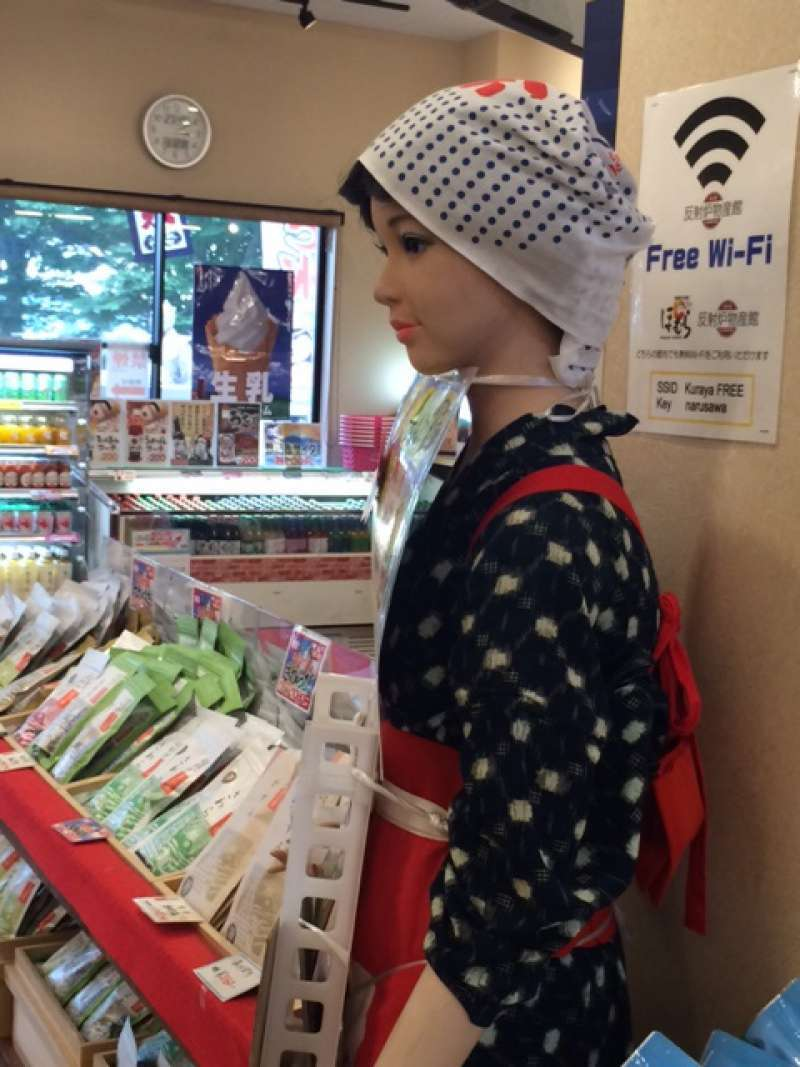 A tea picking doll called Cyako (茶子) will welcome you! She's quiet. You will dress like her. Great experience!