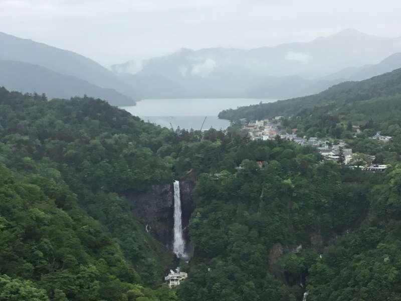 Landscape of Kegon-fall, Chuzenji lake and surrounding mountains from Akechidaira