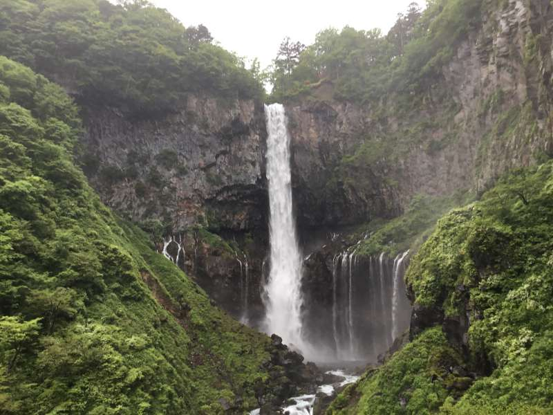 Kegon -fall created by water flow from Chuzenji lake to a lower stage land.