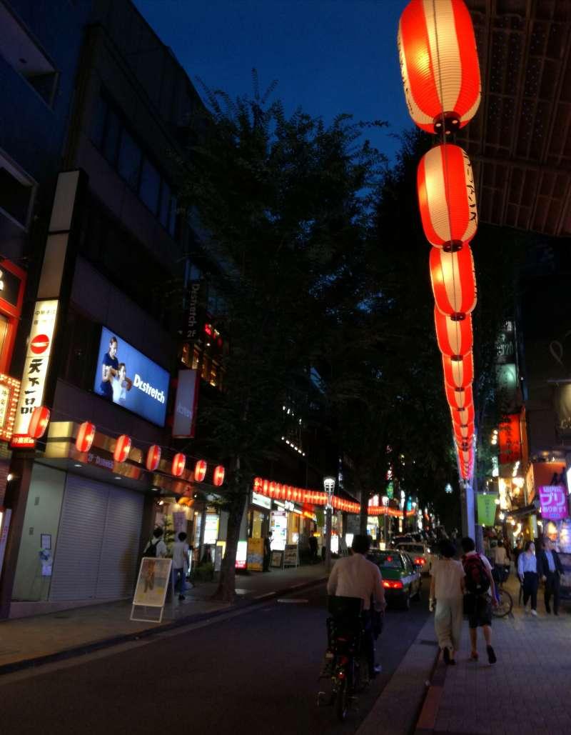 Kagurazaka main street with Japanese lanterns