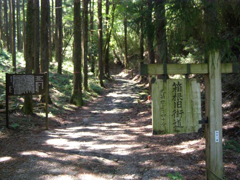Four-hundred-year-old Tokaido Road partially still remains in Hakone.