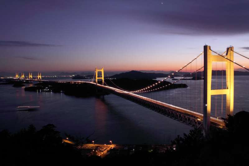 Seto-oohashi Bridge by night