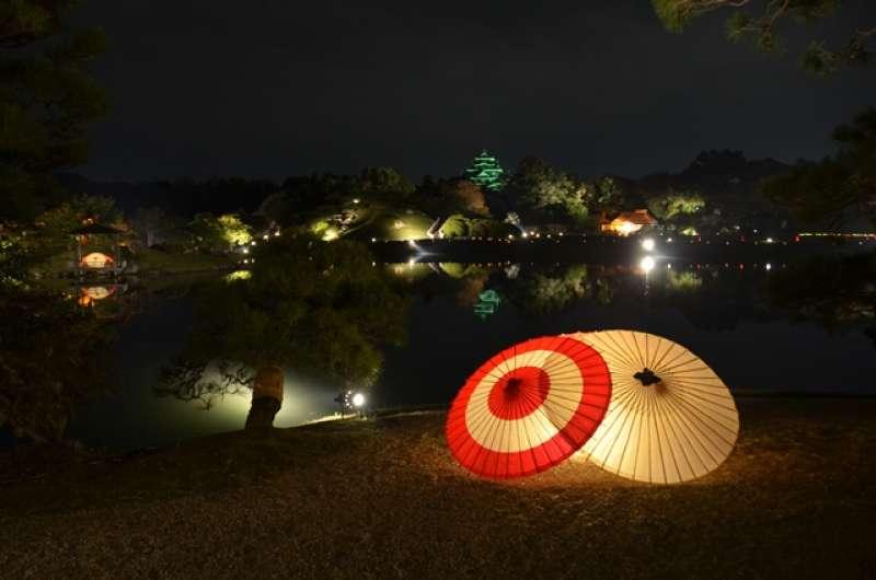 Okayama evening walk : Garden & Castle Illumination