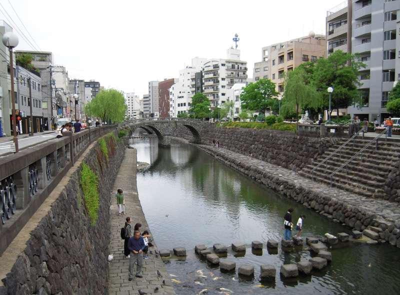 Megane-bashi bridge is the oldest stone bridge in Japan.