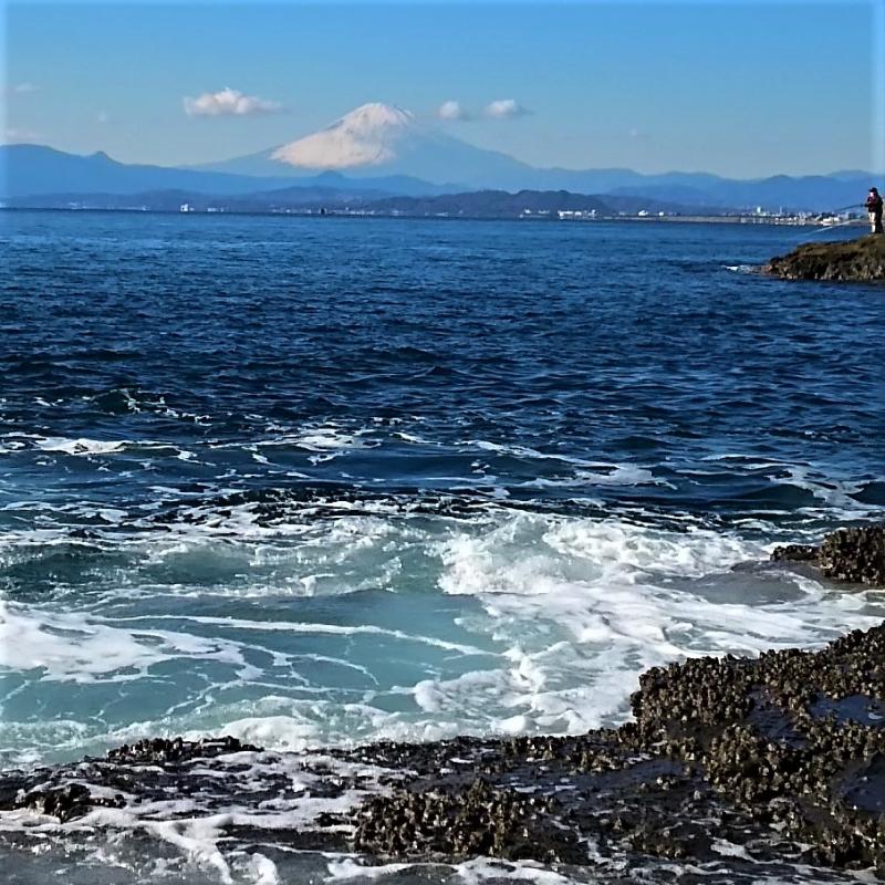 Sagami bay and Mt. Fuji in winter