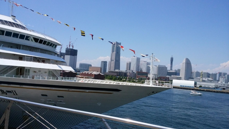 Huge cruse ships come to Oosanbashi pier.   people can enjoy the view of Yokohama from sea side.
