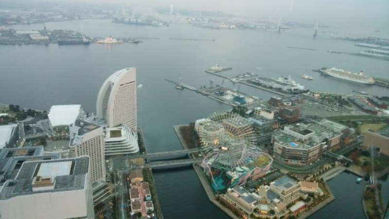 From the top of Land Mark Tower, you can observe the whole site of Yokohama and part of Tokyo. It is the second highest building in Japan.