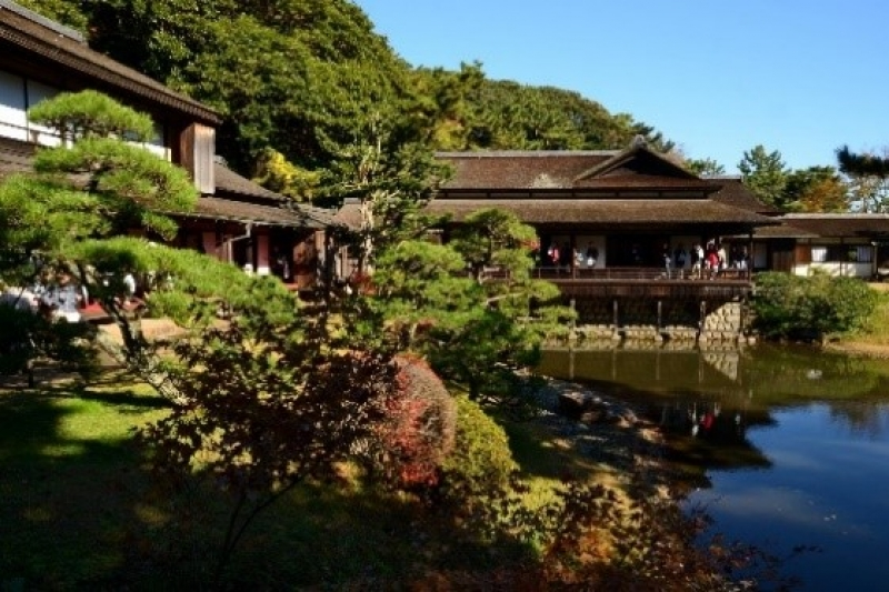 Lots of historical valuable architectural building in sankei-en gardent