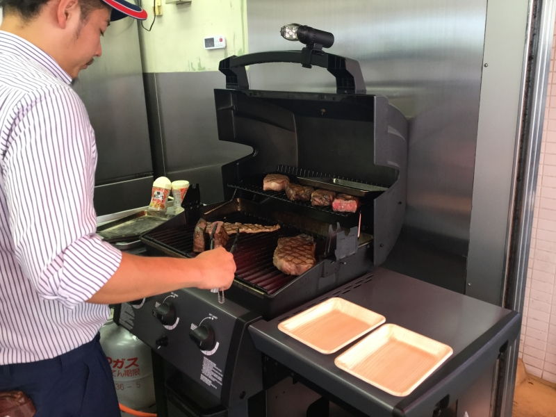 They grill Japanese beef for you to taste it.