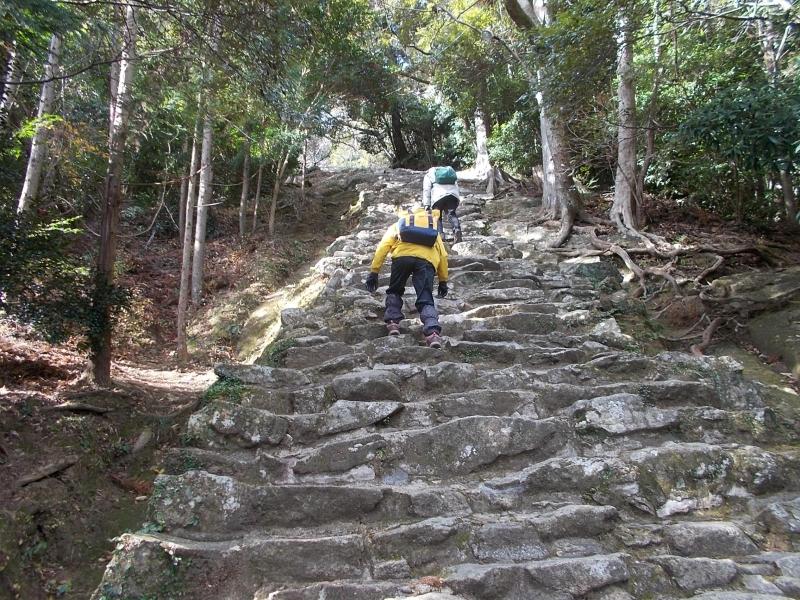 Very steep stone steps at Kamikura shrine in Shingu city.