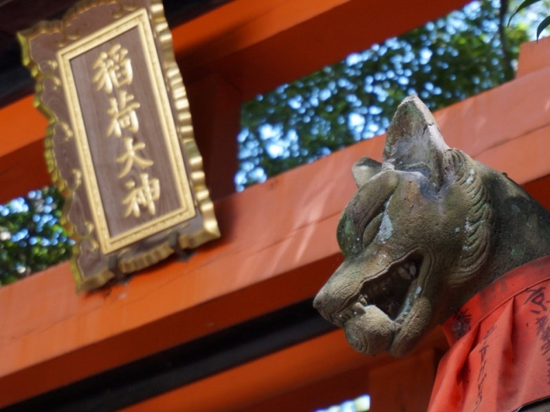 Stone statue of fox, a messenger of the diety is guarding the shrine